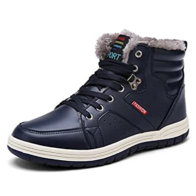 Amazon.com | Ceyue Mens Leather Snow Boots Lace up Ankle