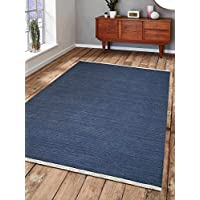 Rugsotic Carpets Hand Woven Kelim Woolen 7 x 9 Contemporary Area Rug Blue D00111 With Fringe