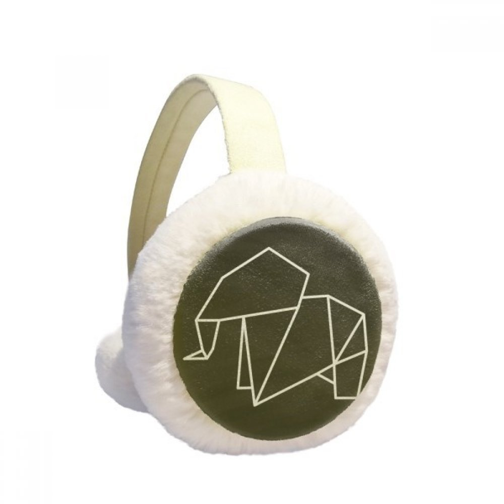 Abstract Origami Elephant Geometric Shape Winter Earmuffs Ear Warmers Faux Fur Foldable Plush Outdoor Gift
