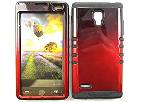 SHOCKPROOF HYBRID CELL PHONE COVER PROTECTOR FACEPLATE HARD CASE AND BLACK SKIN WITH STYLUS PEN. KOOL KASE ROCKER FOR LG OPTIMUS L9 P769 TWO TONE BLACK RED BK-A005-AG