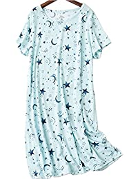 Women's Cotton Blend Green Floral Nightgown Casual Nights...