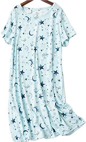 Amoy-Baby Women's Cotton Blend Green Floral Nightgown Casual Nights XTSY001-Blue (Women Cotton Blend)