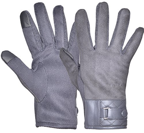 Gray Leather Palm Glove (Outrip Men's Winter Warm Gloves Touch Screen Windproof Driving Cycling Gloves (Gray))
