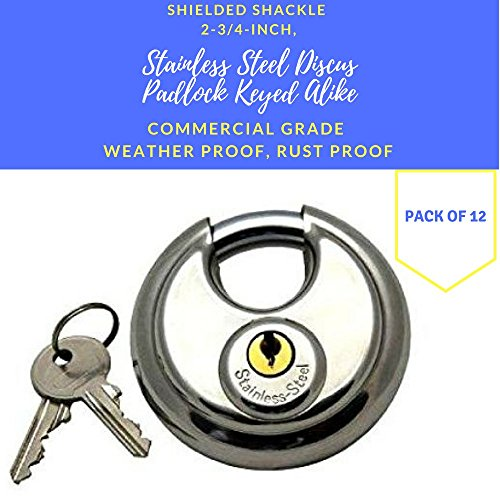 Pack of 12, Stainless Steel Discus Padlocks Keyed Alike 70mm Round Disc Padlock with Shielded Shackle, 2-3/4-inch, Stainless Steel Round Disc Storage Pad Locks All the same key Commercial Grade (12) by Generic