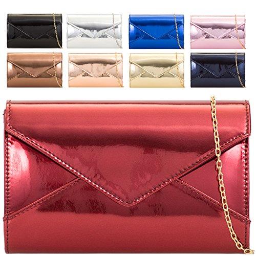 Purse Metallic Women's Patent Party Handbag Clutch Bag Navy Cocktail Shiny KL2103 Ladies zRdqIcwz