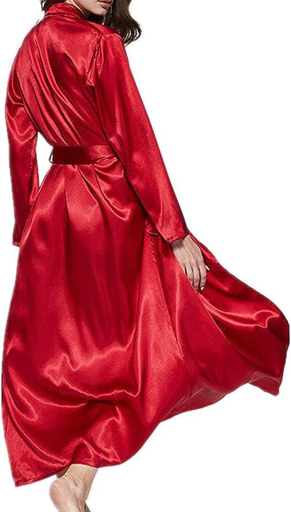 NOBRAND - Albornoz largo de seda, color rojo