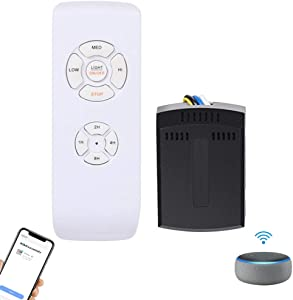 Smart Ceiling Fan Control Kit, Small Size Universal WiFi Fan Light Controller, Fan Light Speed Timing Remote Control for Alexa Enabled Devices