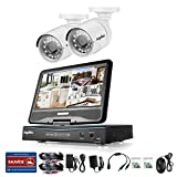 SANNCE All-in-One TRUE HD Home Surveillance System DVR CCTV w/2xHD720P Bullet CCTV Camera, Built-in Monitor & Router, Night Vision, Email Alert(NO HDD)