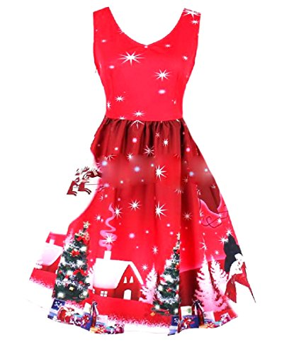 Coolred-femmes Acceptent 50s Taille Flocon Hepburn Grand Ourlet Mini-robe As1