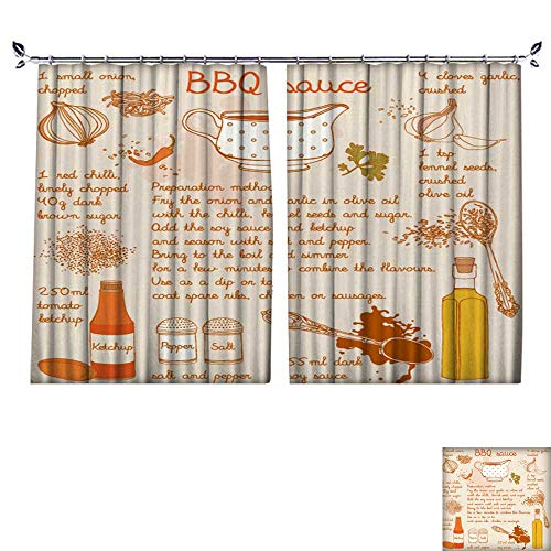 (PRUNUS Fashion Window Curtain with hookfoo s Collection Foo redients Barbecue Sauce Recipe Radiation Protection,W55)