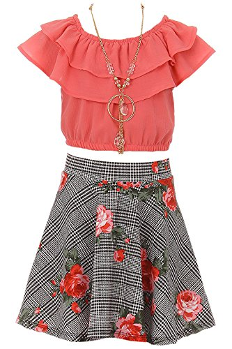 Big Girl 3 Pieces Girls Ruffle Top Flower Skirt Necklace Party Clothing Set Coral 10 JKS 2130S by BNY Corner
