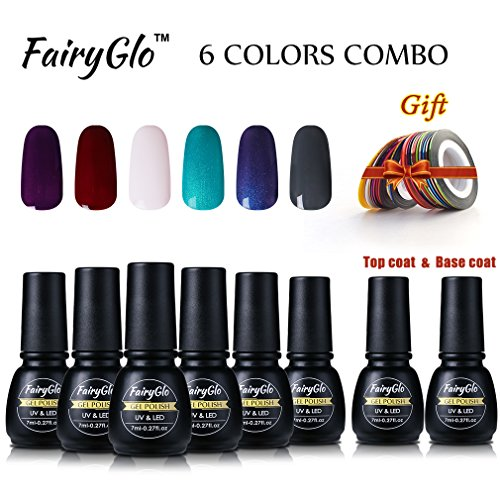 Gel Nail Polish 6PCS Top Base Coat Strip tape Rolls Nail Art Collection UV LED Soak Off Manicure Starter Kit DIY FairyGlo 7ml (Halloween Nail Polish Strips)
