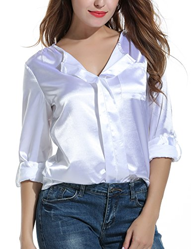 Meaneor Women's Casual V Neck Cuffed Sleeves Solid Blouse Top White XXL (Tunic Blouse Silk)