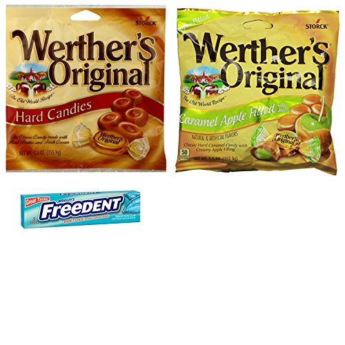 Werthers Original Hard Caramels 5.5 oz Large Bag Combo. Original Hard Candies and Caramel Apple Candies. Easy Shopping and Vegetarian Friendly. Includes 5 pack Gum Sample.
