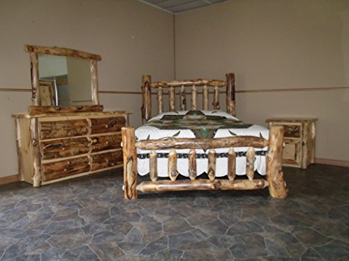 Furniture Barn USA Rustic Aspen Log Bedroom Set- Queen -Complete Bed, Dresser, Nightstand, Mirror
