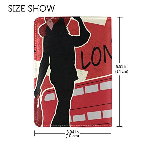 COOSUN London Retro Poster Leder Reisepasshülle für Travel One Pocket