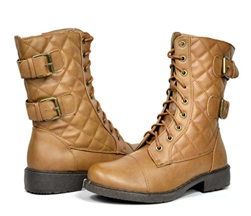 DREAM PAIRS TRUDER Women's Fashion Lace Up Military Combat Booties Boots