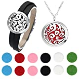 JOVIVI 30mm Lucky Clouds Aromatherapy Essential Oil Diffuser Necklace Locket Pendant + Detachable Genuine Leather Bracelet w/ 12 Felt Pads and Box