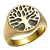 Dixinla Rings Steel , Europe and The United States Simple Creative Retro Men's Life Tree Stainless Steel Titanium Ring Jewelry Gift for Family or Friends