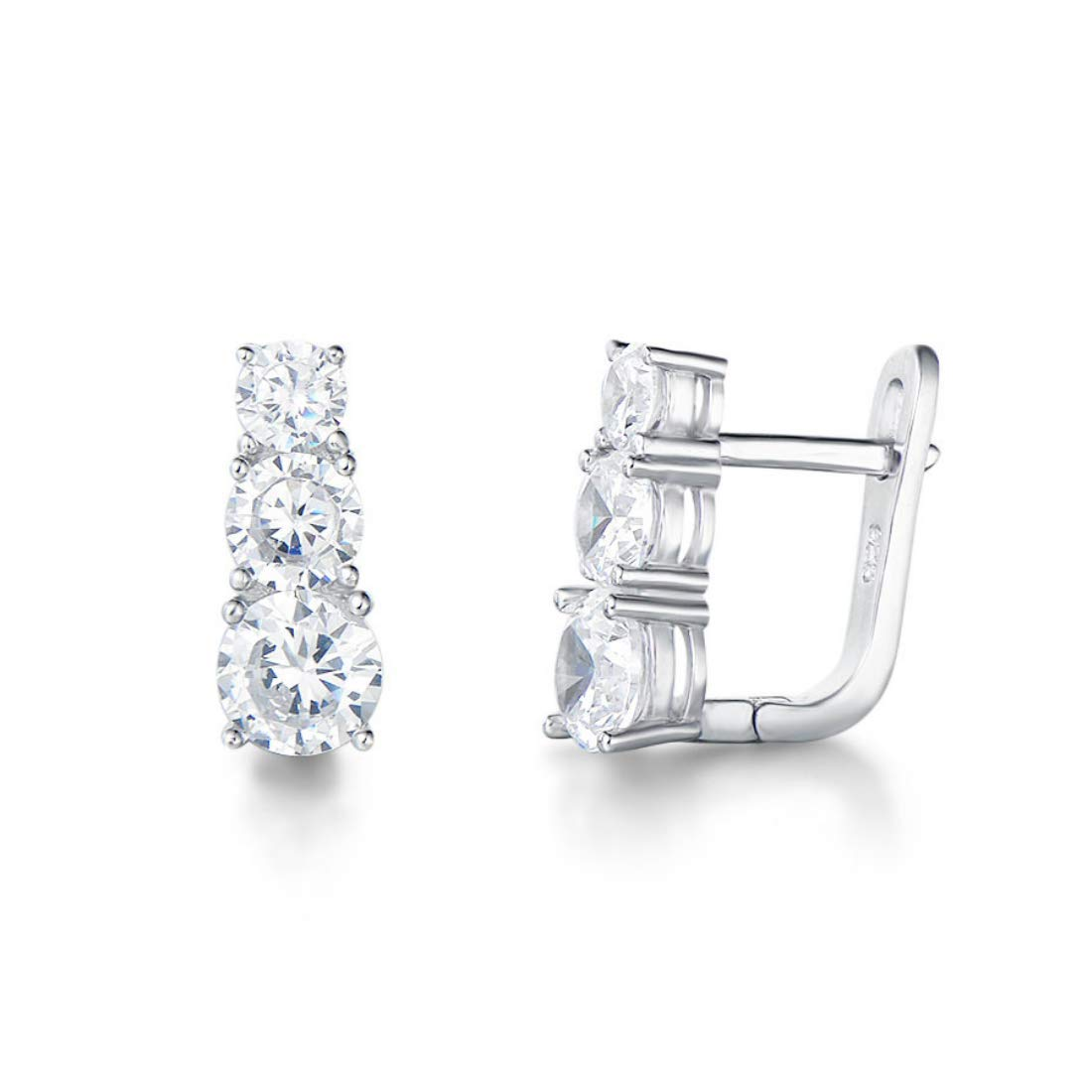FANCIME Rhodium Plated 925 Sterling Silver 3 Stone CZ Cubic Zirconia Small Hoop Earrings Fashion Jewelry For Women Girls by FANCIME