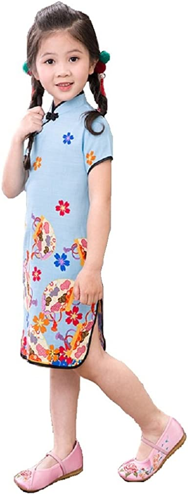 Toddler Baby Girls Dress Chinese Classic Rose Qipao Dress Cheongsam Kids Cotton Short Sleeve Dresses Party Costume