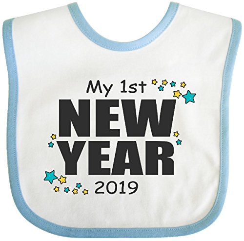 Inktastic - My 1st New Year 2019 with Stars Baby Bib White/Blue 2da5b ()