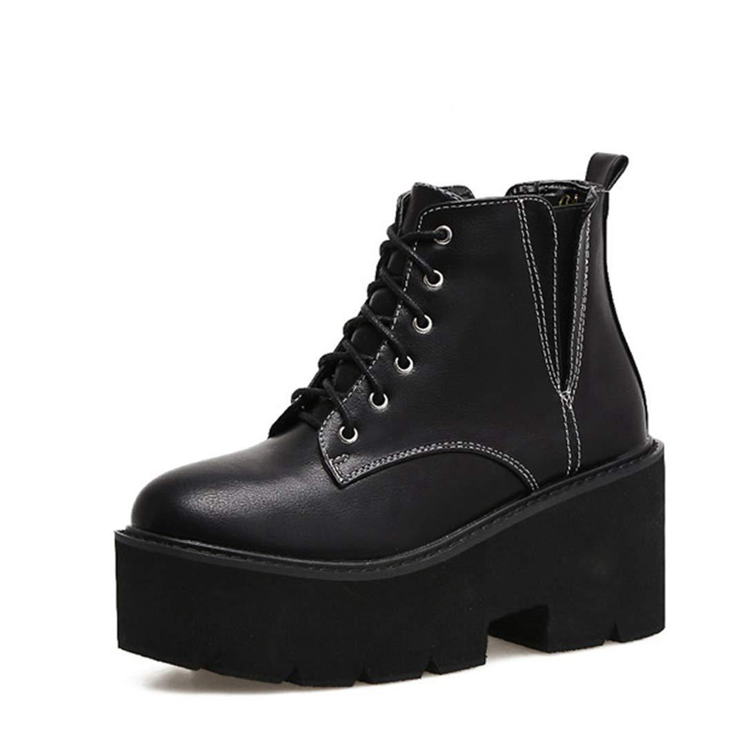 Ankle Stiefel für Frauen Casual Lace Up Pun Mid Heel Wasserdichte Stiefel