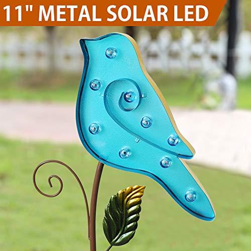 "Bright Zeal 11"" Big Metal Blue Bird Solar Lights Yard Art - Outdoor Garden Decorations LED Solar Garden Statue - Yard Decorations Solar Lights - Solar Bird Lights Figurine Lights Solar Garden Decor"