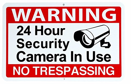 fan products of 1 Pc Super Popular Warning 24 hour Sign Property Waterproof No Trespassing Security Yard Size 11