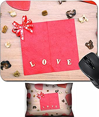 MSD Mouse Wrist Rest and Small Mousepad Set, 2pc Wrist Support design 36064525 Red heart shape paper on wooden table with copy space vintage style