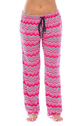Just Love 6333-10089-S Women Pajama Pants - PJs - Sleepwear,Zig Zag Chevron Cherry Red with Black lines,Small