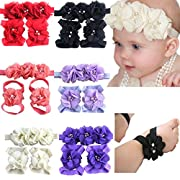 6 Colors Baby Girl Flower Headbands and Barefoot Baby Sandals Set for Newborns Infants Photograph