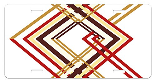 Ambesonne Modern License Plate, Retro Style Diamond Like Border Line Geometrical Artwork Design, High Gloss Aluminum Novelty Plate, 5.88 L X 11.88 W Inches, Ruby Caramel Brown and Tan