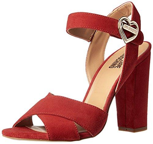 Love Moschino Women's Metal Heart Buckle Platform Dress Sandal, Red, 39 EU/9 M US