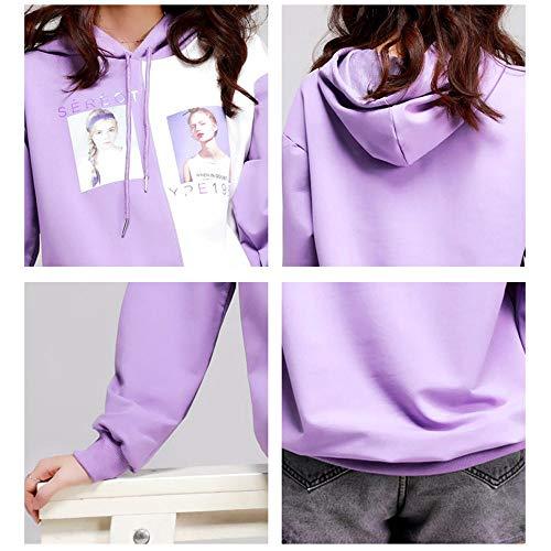 Colori Taglia Camicia Donna maglione Purple Nella Con Color Donna Cappuccio Femminile Felpa A Unica Cuciture Lxiangp Lunga Due Pullover Contrasto aq7T6