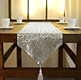 4 X 3 Coffee Table Shinybeauty Sequin Tassel Table Runner, 12 by 90 Inch Grey, Shimmer Dining Table Runners Sequined Hotel Bed Coffee Table Runners