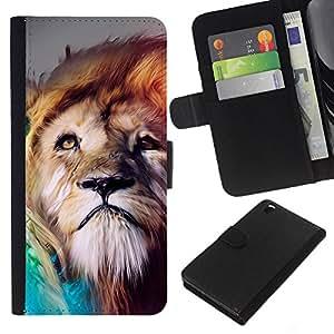 LECELL--Cuero de la tarjeta la carpeta del tirón Smartphone Slots Protección Holder For HTC DESIRE 816 -- Pintura León --