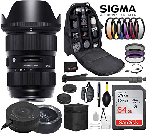 Sigma 24-35mm f/2 DG HSM Art Lens for Canon DSLR Cameras + Sigma USB Dock with Professional Bundle Package Deal – 9 pc Filter Kit + SanDisk 64gb SD Card + Backpack + More