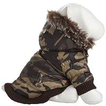 PET LIFE Classic Metallic Fashion Pet Dog Coat Jacket Parka w/ 3M Insulation and Removable Hood, X-Large, Camouflage