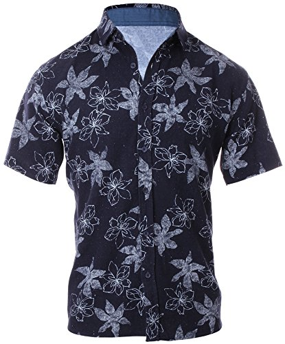 Enimay Men's Short Sleeve Shirt Button Down Collared Printed Lightweight Casual Floral Print Medium -