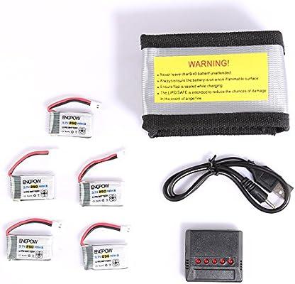 Foxom Drone Batería 5 pcs 3.7v 250mah Lipo Batería + 5 en 1 Cargador Batería + rueba de Explosiones Bolsa para SYMA X4/X11 / Walkera Mini CP/QR / ...