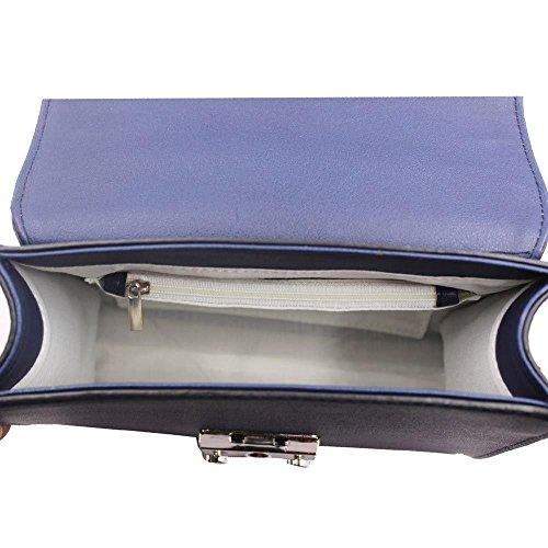 Oscuro Caja Serpiente Diva Alta Para La Crossbody Mujeres Piel El Gris Azul Marino Forma De Bolso De nn6Pxp1