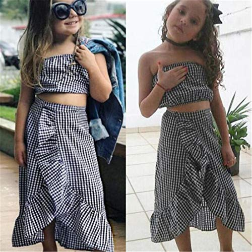 Baby Girl Toddler 2/3 Sleeve Black Crop Top + Grey Shorts Bowknot Skirts Outfit Clothes 2Pcs/ Set (Plaid, 6-12 Months) by Mornbaby (Image #1)