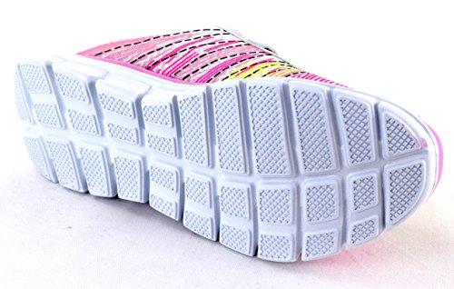ACO Damen Sneaker Sportschuhe Textil Freizeit und Fitness Sehr Leichtes Eigengewicht Schwarz Pink Weiss mit Klettverschluss Gr. 36-41 Weiß