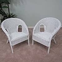 Real Authentic Wicker Stacking Chair for Kid Children (Set of 2) White Finish