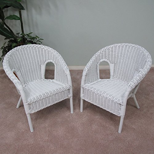 Toddler Wicker - Real Authentic Wicker Stacking Chair for Kid Children (Set of 2) White Finish
