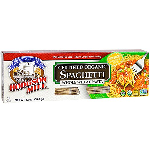 Hodgson Mill Organic Whole Wheat Spaghetti with Milled Flax Seed, 12-Ounce Boxes (Pack of 12), Whole Grain Pasta, Delicious with Tomato Sauce, Health Conscious Substitute for Refined White Pasta