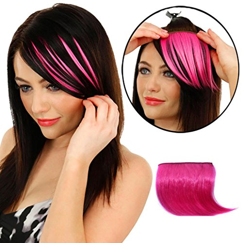 Pretty In Pigtail Wig (Sunmoot 1PC Hair Bangs Clip Wig Piece Pretty Girls Clip In Front Hair Bang Fringe Hair Extension Piece Thin (Hot Pink))