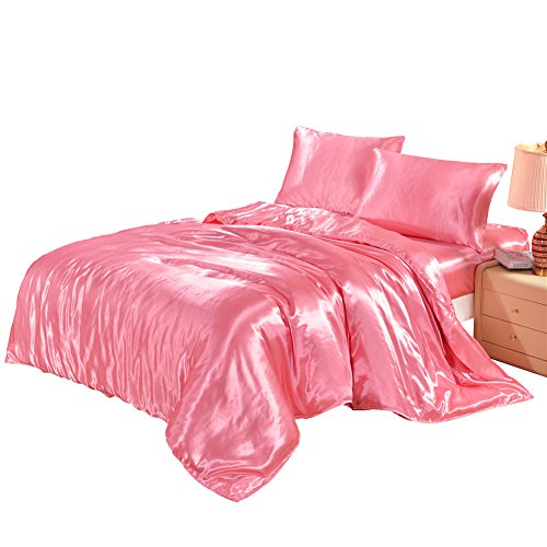 Lucky lover Hotel Quality Pink Duvet Cover Set Queen/Full Size Silk Like Satin Bedding with Hidden Zipper Ties Soft Comfortable Hypoallergenic Stain Resistant Solid Quilt/Comforter Cover Set (Silk Bedding Quilt)