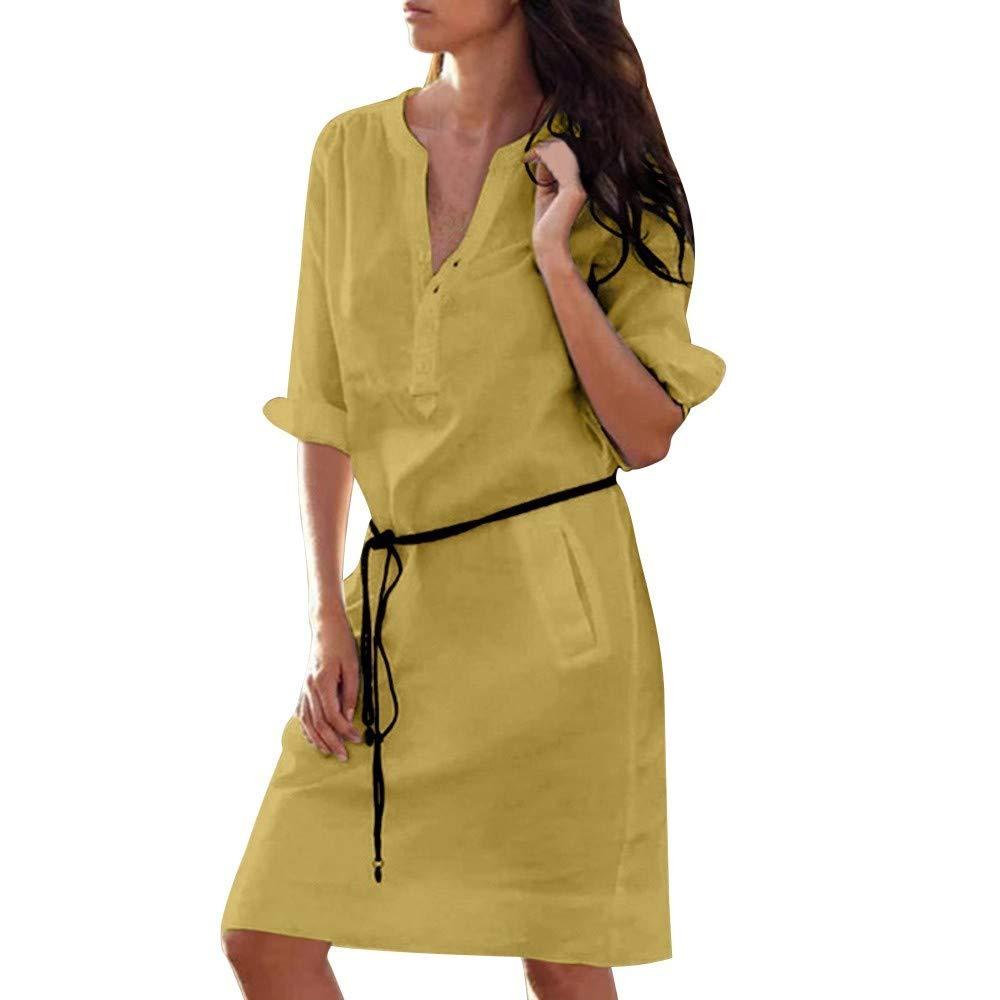 HEFEITONG Women Long Sleeve Buttons V Neck Dress Slim Pocket Dresses KIEOKKO107 15.39